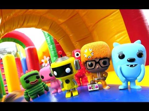 "YO GABBA GABBA Parody ""Yo Gabba Gabba toys in GIANT INFLATABLE Bounce House"" with Brobee & Muno"