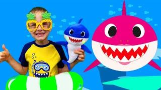 Акулёнок Малыш - Baby Shark Dance на русском языке - Детская песенка от Алекса и Насти