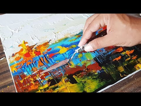 Abstract Painting / Landscape in Acrylics & Palette knife / Demo / Project 365 days / Day #054