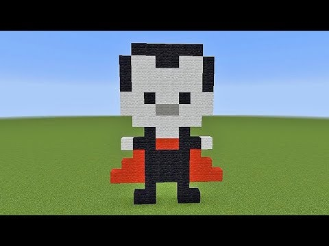 How To Build A Vampire Dracula Halloween Pixel Art In Minecraft