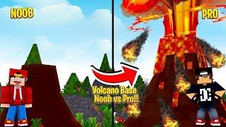 Minecraft - NOOB vs PRO VOLCANO BASE!!