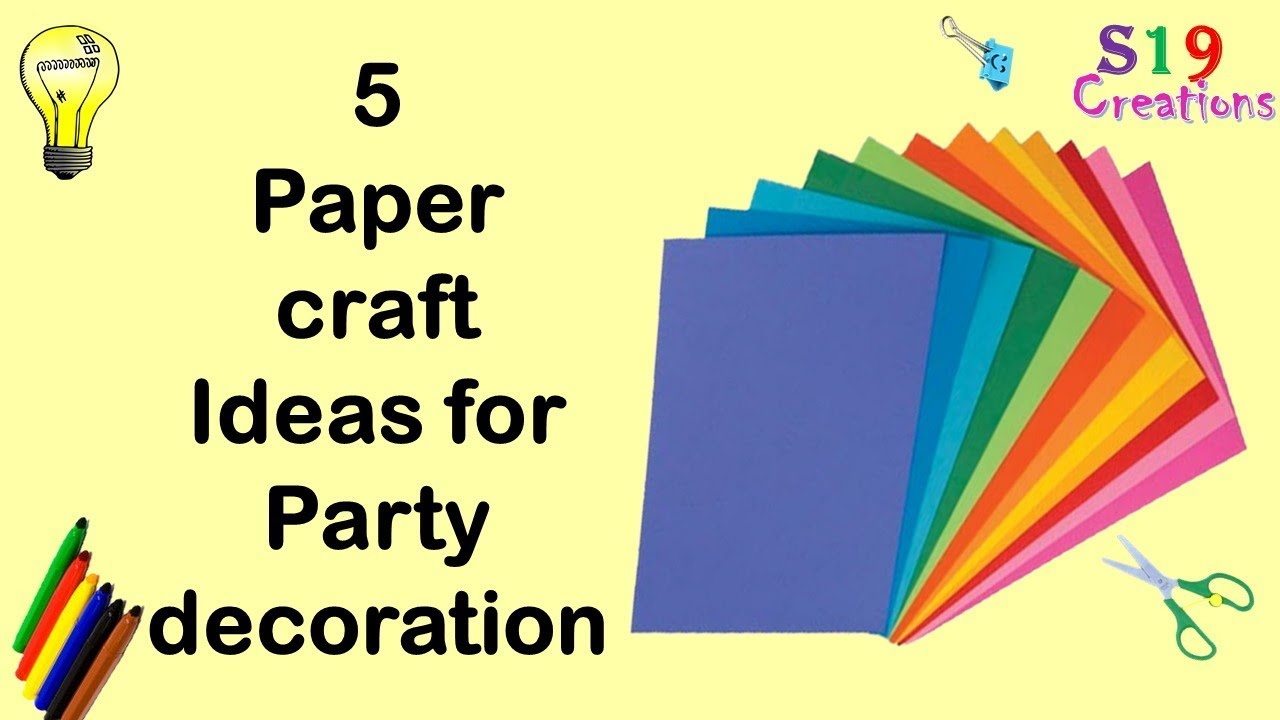 5 paper decor crafts | Easy diy paper craft ideas for party | Budget ...