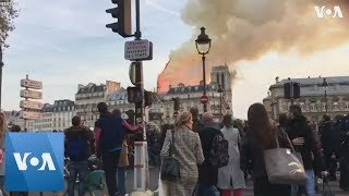 Notre Dame Fire in Paris Causes Spire to Collapse