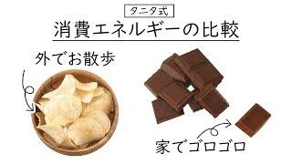 タニタ式!休日の過ごし方で大きく変わる消費カロリー!ポテチとチョコで簡単比較!