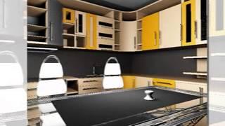 дизайн кухни с фасадами абрикосового и бежевого цветов