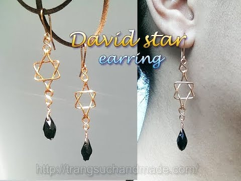 David star earring with drop crystal -...