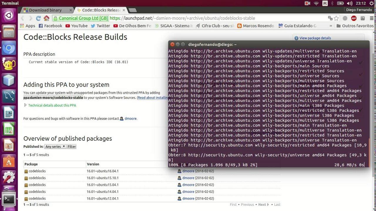 Instalação do Code::Blocks no Linux Ubuntu 15 10