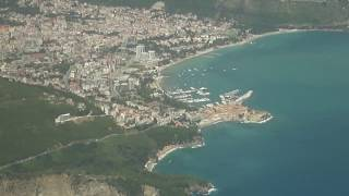 Nice view Montenegro sea coast, challenging landing at Tivat airport