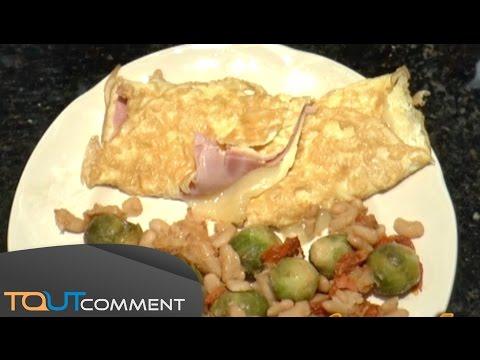 Réussir une omelette au jambon et au fromage