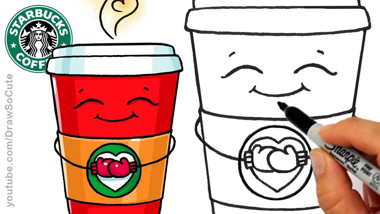 How To Draw A Hot Starbucks Drink Step By Step Easy And Cute Winter Holiday Youtube
