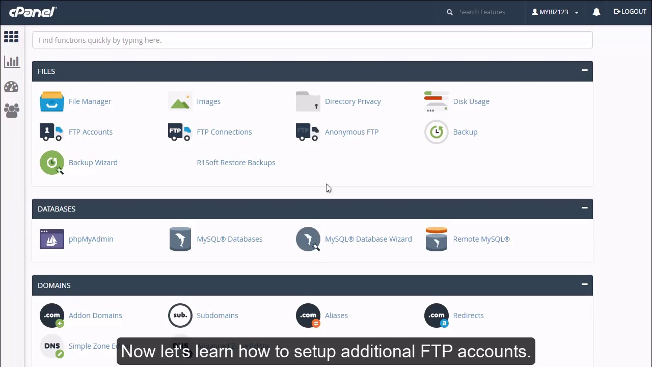 How to create additional FTP accounts in cPanel?