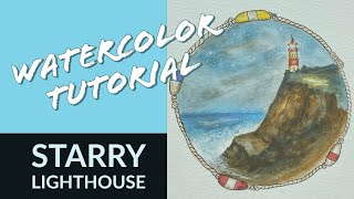 Watercolor Tutorial: Starry Lighthouse