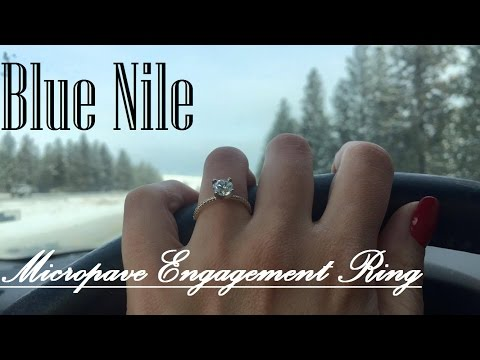 Blue Nile Petite Micropave Diamond Engagement Ring in Yellow Gold (1/10 ct. tw.) with Round 1.01