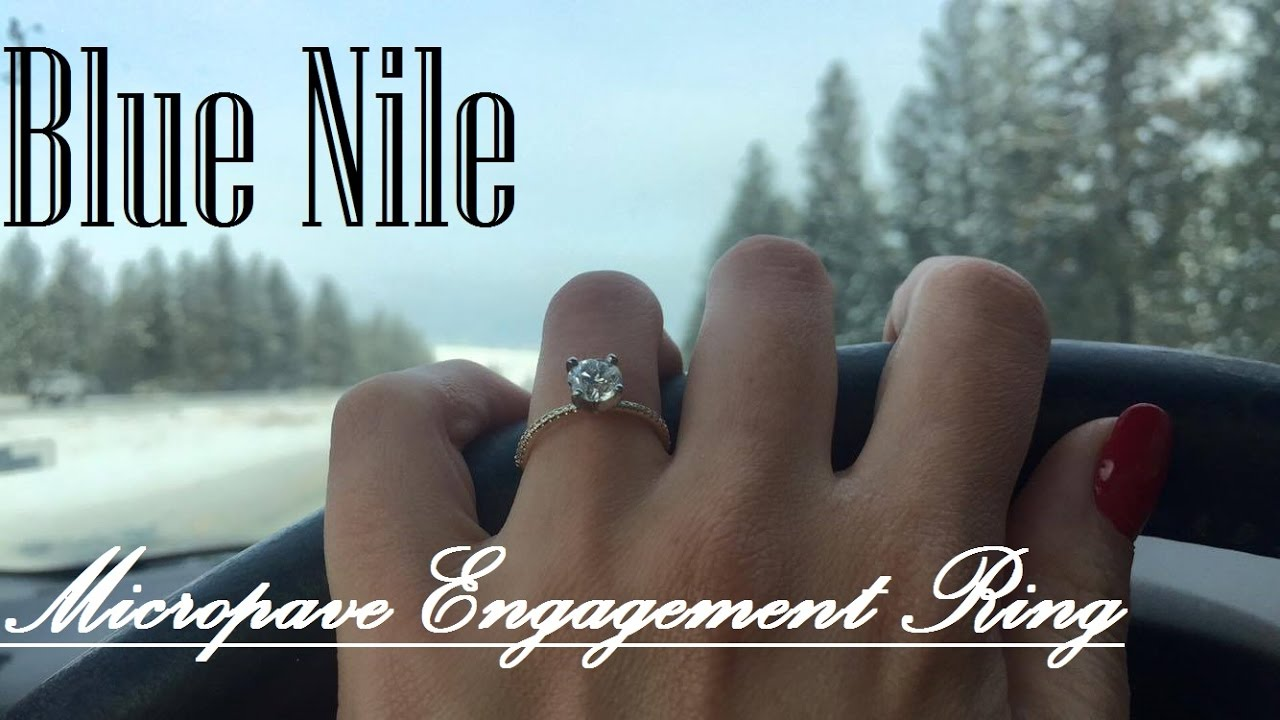 Blue Nile Petite Micropave Diamond Engagement Ring In Yellow Gold