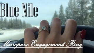 blue nile petite micropave diamond engagement ring in yellow gold 1 10 ct tw with round 1 01