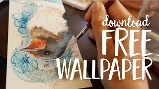 Swallows as Spirit Animals //// Watercolor Illustration (+ Free Wallpaper Download)