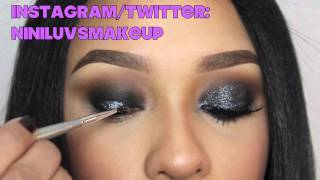 SMOKE AND DIAMONDS -BLACK GLITTERY SMOKEY EYES: NINILUVSMAKEUP Thumbnail