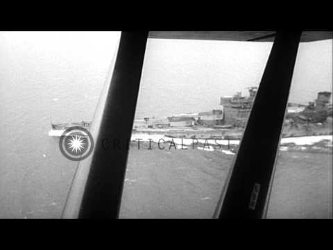 Aerial views of British Battleship, HMS King George V, underway, at sea HD Stock Footage
