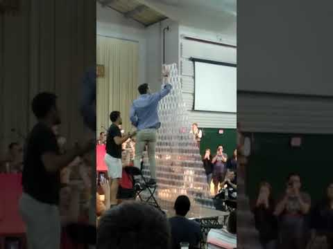 GIANT CUP TOWER COLLAPSE AT FRANCISCAN UNIVERSITY AUSTRIA FESTIVAL