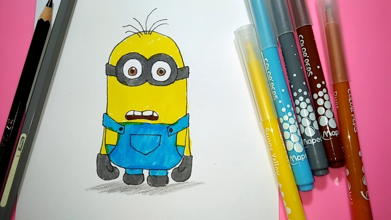 Belajar Menggambar Dan Mewarnai Kartun Minion Youtube