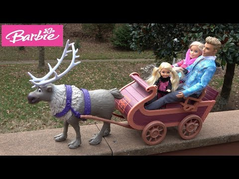 Frozen Anna and Elsa Toddlers Visit Barbie House Story with NEW Sled and Barbie and Ken Truck