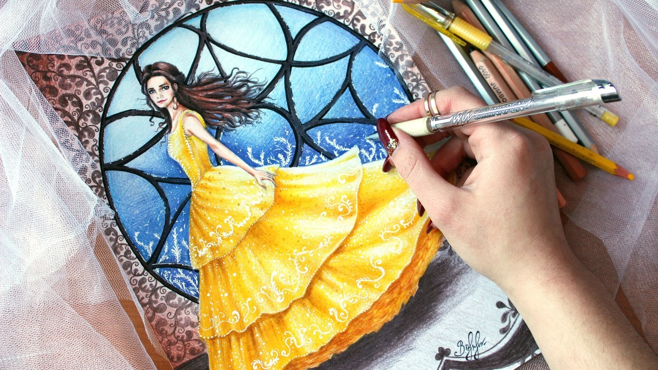 Drawing Belle From BEAUTY AND THE BEAST 2017 Speed Glittering Dress
