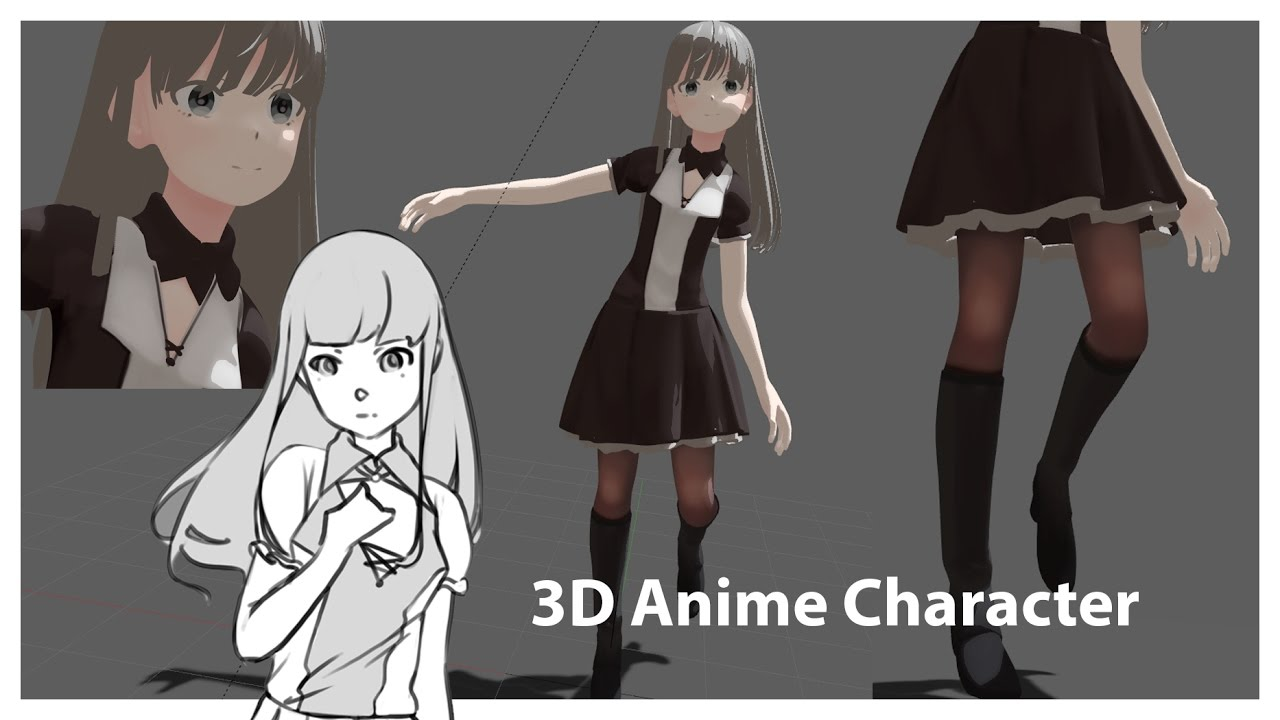 3d anime character hair physics and material setup blender youtube