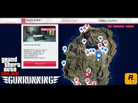GTA ONLINE GUNRUNNING DLC!! All bunker locations prices and customizations