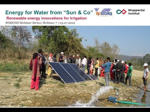 """Energy for Water from """"Sun & Co""""   - Renewable Energy Innovations for Irrigation"""