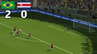 BRAZIL vs COSTA RICA WORLD CUP 2018 GROUP E  FULL MATCH & GAMEPLAY | PES 2018