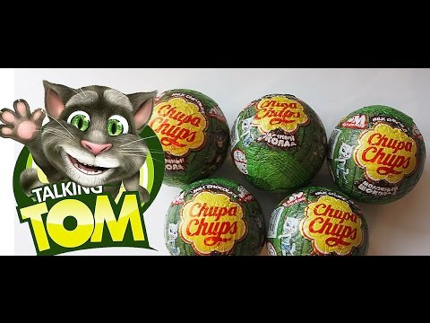 Говорящий кот Том  шары Чупа Чупс  Choco Balls Chupa Chups Tom Cat and Friends Surprise eggs toys