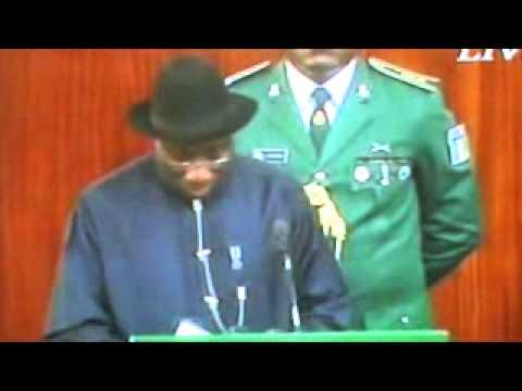 President Goodluck Jonathan presenting the 2013 budget