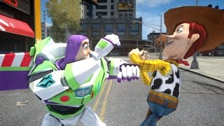 Buzz Lightyear vs Woody - Toy Story Battle - Grand Theft Auto