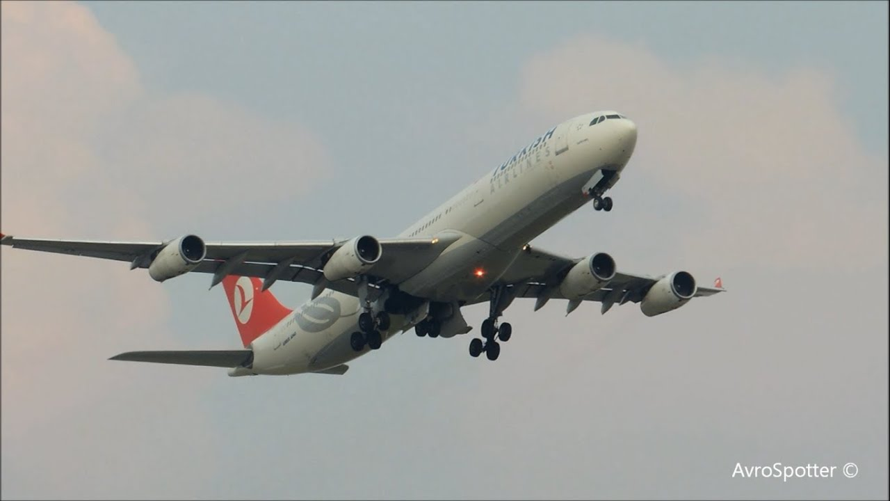 turkish airlines a340 300 takeoff at brussels airport hd youtube. Black Bedroom Furniture Sets. Home Design Ideas