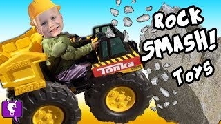 Worlds Biggest TRUCK Smash Eggs! Ride-On Tractor Tonka Toys SURPRISE Hero Adventure by HobbyKidsTV