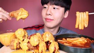 SUB)치즈떡볶이랑 BBQ황금올리브치킨닭다리 리얼사운드…