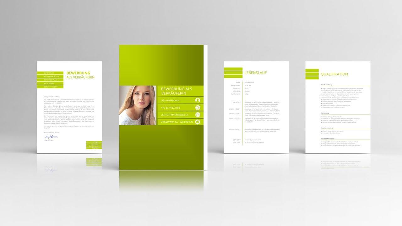 Bewerbung Design mit Anschreiben + Lebenslauf + Deckblatt - YouTube