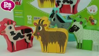 Vilac, klocki śmieszne zwierzęta z farmy, zabawka od 2 lat - Unboxing
