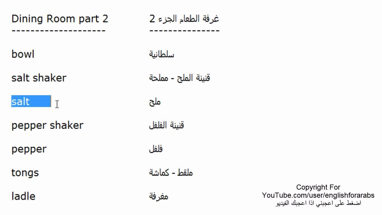 مفردات غرفة الطعام باللغة الانجليزية الجزء 2 Youtube
