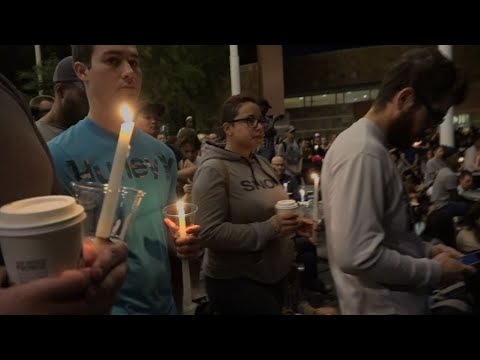 Tears and Grief at UNLV Vigil