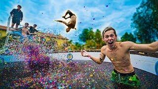 25 Million Orbeez Foam Pit Vs Trampoline - Challenge