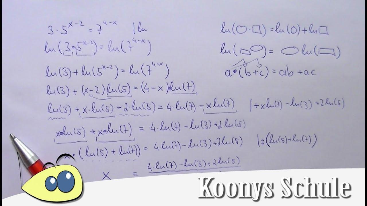 Exponentialgleichung mit ln(x) lösen, Beispiel, Logarithmus ...