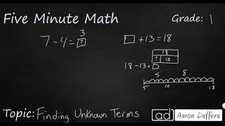 1st Grade Math Finding Unknown Terms