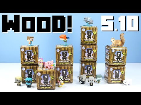 Minecraft Mini-Figures Wood Series 10 Mystery Boxes Collection Review & Codes