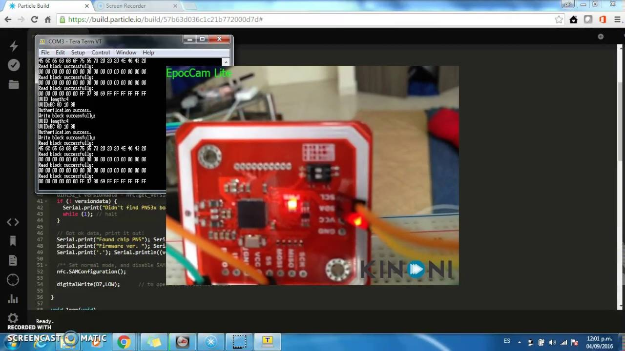How to use a NFC reader with Photon Spark