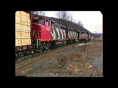 Rare CN GP40 standard cab on CV freight  White River Jct. to Brattleboro,VT 03/13/1992