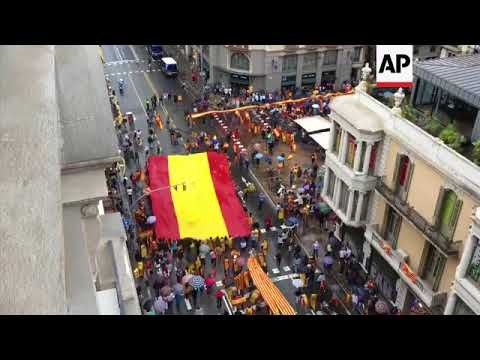 Pro-Spain march and rally in central Barcelona