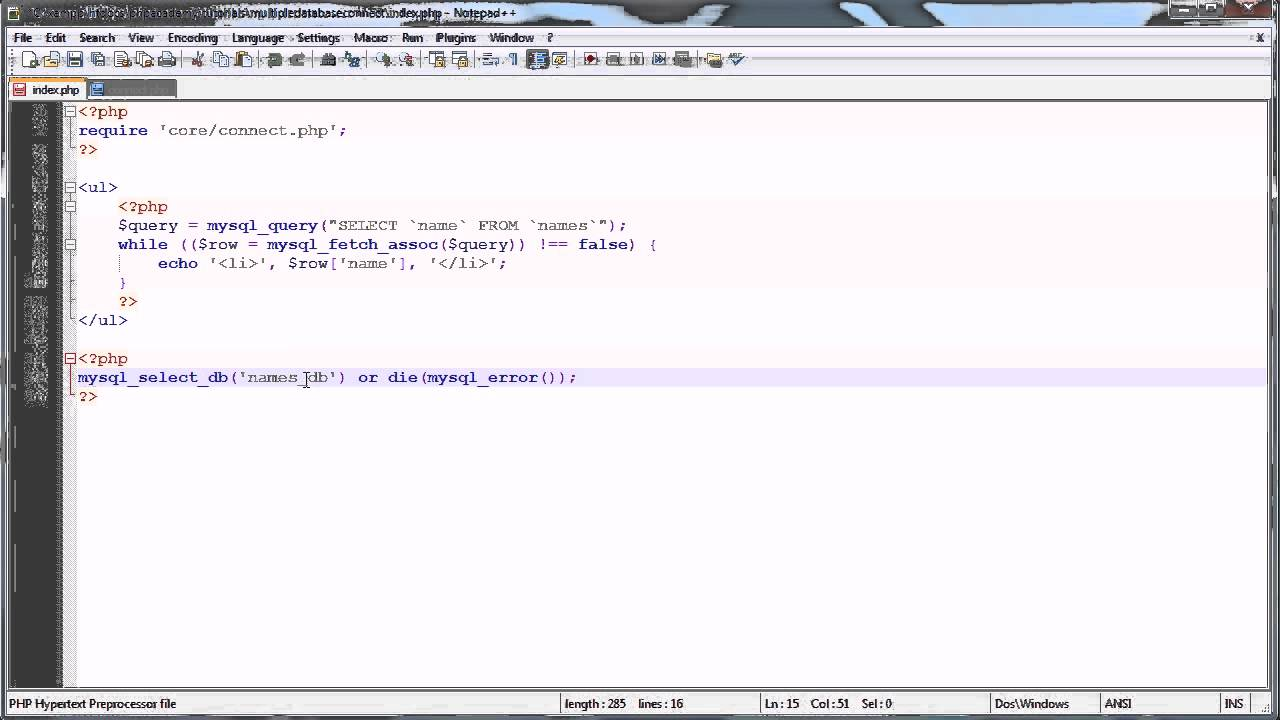 Php tutorials selecting and using multiple mysql databases youtube gamestrikefo Choice Image
