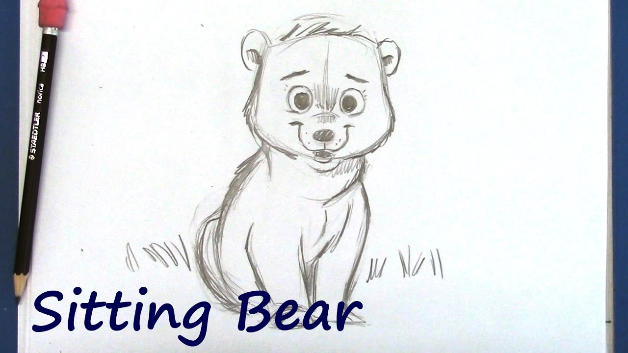 How To Draw A Cartoon Bear For Beginners Youtube