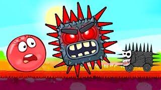 Мультик про красный шарик. Квадрат с красными колючками нападает на красный шар.